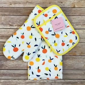{Kate Spade} 3 Piece Kitchen Towel Oven Mitt NWT
